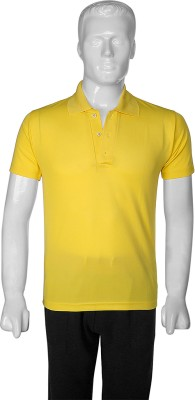 SelfieSeven Solid Men's Polo Yellow T-Shirt