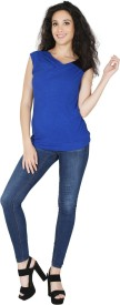 RPJ Solid Women's Round Neck Blue T-Shirt