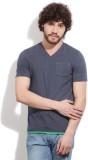 Easies Solid Men's V-neck Blue T-Shirt