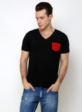 Rigo Solid Men's V-neck Black T-Shirt