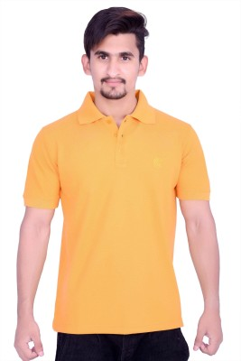 CULT Solid Men's Polo Neck Yellow T-Shirt