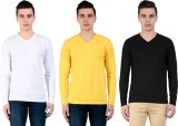 ZEKI Solid Men's V-neck Multicolor T-Shi...