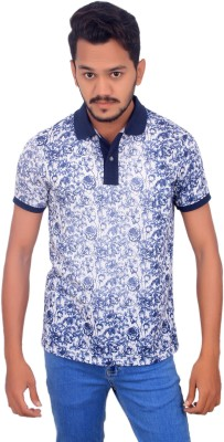 BOMBAY BLUES Printed Men's Polo Neck Blue T-Shirt