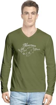 Hueman Printed Men's V-neck Green T-Shirt