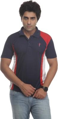 TT Self Design Men's Polo Neck Reversible Blue, Red T-Shirt
