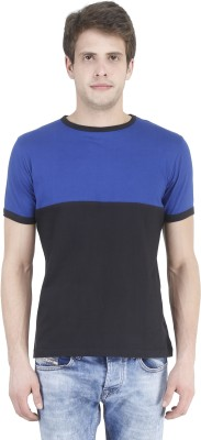 Bonzer Fashion Solid Men's Round Neck Black, Light Blue T-Shirt