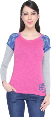 Bedazzle Solid Women's Round Neck Pink T-Shirt