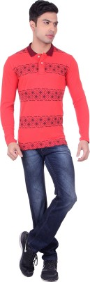 Black Sparrow Printed Men's Polo Neck Red T-Shirt