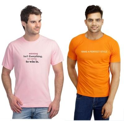 ORKO Solid Men's Round Neck Orange, Pink T-Shirt