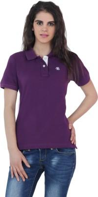 The Cotton Company Solid Women's Polo Neck Purple T-Shirt