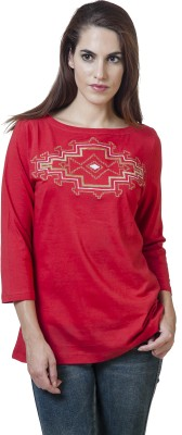 Rute Embroidered Women's Round Neck Red T-Shirt
