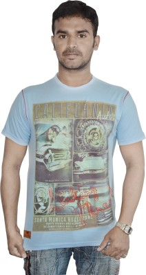 Linking Threads Printed Men's Round Neck Light Blue T-Shirt