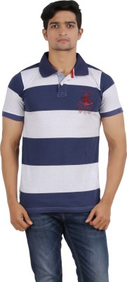 Madvariants Striped Men's Polo Neck T-Shirt