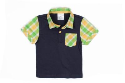 Nahshonbaby Checkered, Solid Boy's Polo Neck Dark Blue T-Shirt