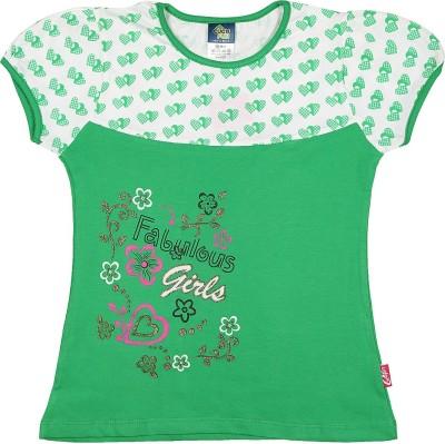 Cucumber Printed Baby Girl's Round Neck Green, White T-Shirt