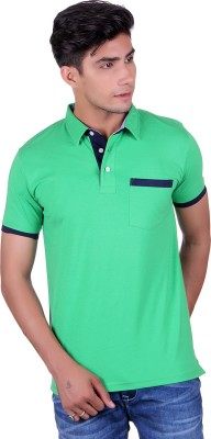 Heritage Denim Embroidered Men's Polo Neck Green T-Shirt