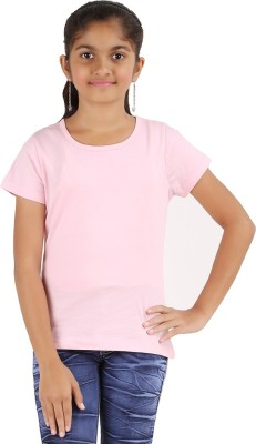 Astrix Solid Girl's Round Neck Pink T-Shirt