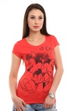 Texco Printed Women's Round Neck Red T-S...