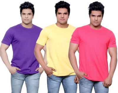 IndiStar Solid Men's Fashion Neck Purple, Yellow, Pink T-Shirt