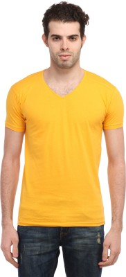TEES COLLECTION Solid Men's V-neck Yellow T-Shirt