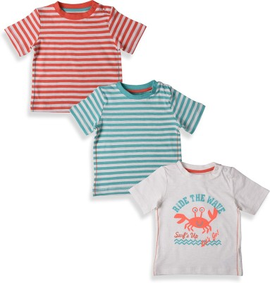 Mothercare Striped Boy's Round Neck Grey, Blue, Red T-Shirt