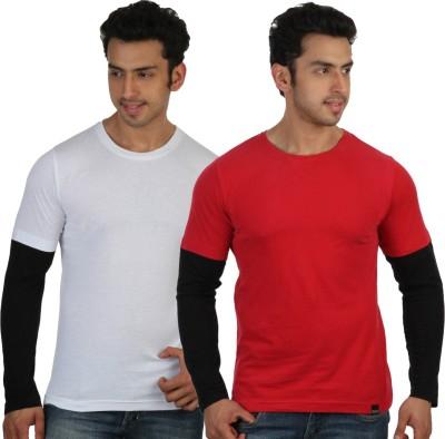 Rigo Solid Men's Round Neck White, Red T-Shirt