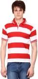 Wajbee Striped Men's Polo Neck White, Re...
