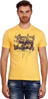 Volume Zero Printed Men's Polo Neck Yellow T-Shirt
