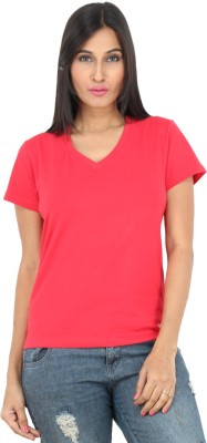 F FASHIONSTYLUS Solid Women's V-neck Red T-Shirt