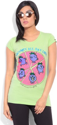 Mr. Men Little Miss Printed Women's Round Neck Light Green T-Shirt
