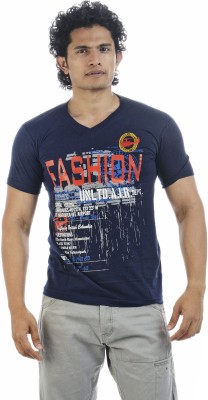 Shapers Printed Men's V-neck Dark Blue T-Shirt