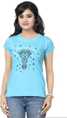Prova Solid Women's Round Neck Light Blue T-Shirt