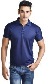 Trudam Solid Men's Polo Neck Blue T-Shirt