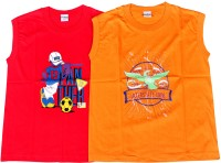 Padma Boys Printed Hoisery T Shirt(Multicolor, Pack of 2)