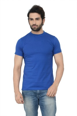 Karnik Couture Solid Men's Round Neck Blue T-Shirt