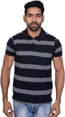 Being Dessi Solid Men's Polo Neck Black T-Shirt