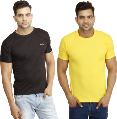 Eprilla Solid Men,s Round Neck Black, Yellow T-Shirt