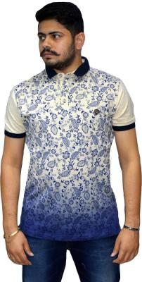 Navratna Nxt Printed Men,s Flap Collar Neck Beige T-Shirt