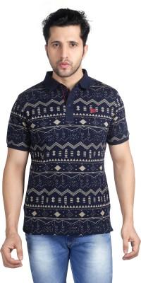 Nostrum Jeans Self Design Men's Polo Neck Dark Blue, Beige T-Shirt