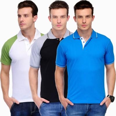 Scott International Solid Men's Polo White, Green, Black, Grey, Blue T-Shirt