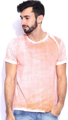 Le Bison Solid Men's Round Neck Orange T-Shirt