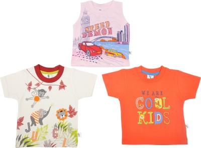 Cucumber Printed Baby Boy's Round Neck Orange, Pink, Multicolor T-Shirt