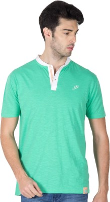 Roar and Growl Solid Men's Henley Green, White T-Shirt