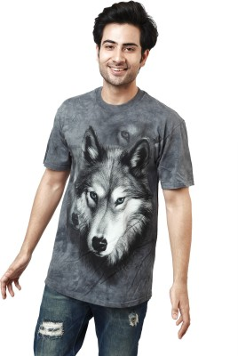 The Mountain Printed Men's Round Neck Grey T-Shirt