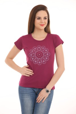 Ultrafit Printed Women's Round Neck Maroon T-Shirt
