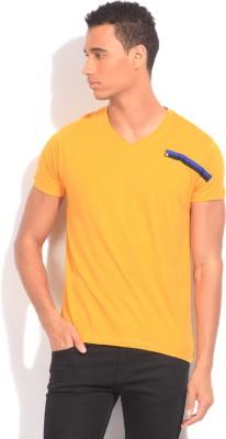 Flippd Solid Men's V-neck Yellow T-Shirt