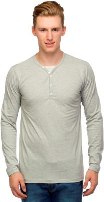 Martech Solid Men's V-neck Grey T-Shirt