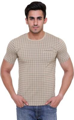 FREE RUNNER Printed Men's Round Neck Beige T-Shirt