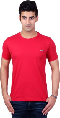 Bridge Solid Men's Round Neck Red T-Shirt