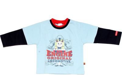 Babiano Printed Baby Boy's Round Neck Blue T-Shirt